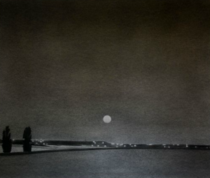 "At Barry Whistler Gallery, Danny Williams' solo is all about the night. Shown: ""Harvest Moon,"" 2013."