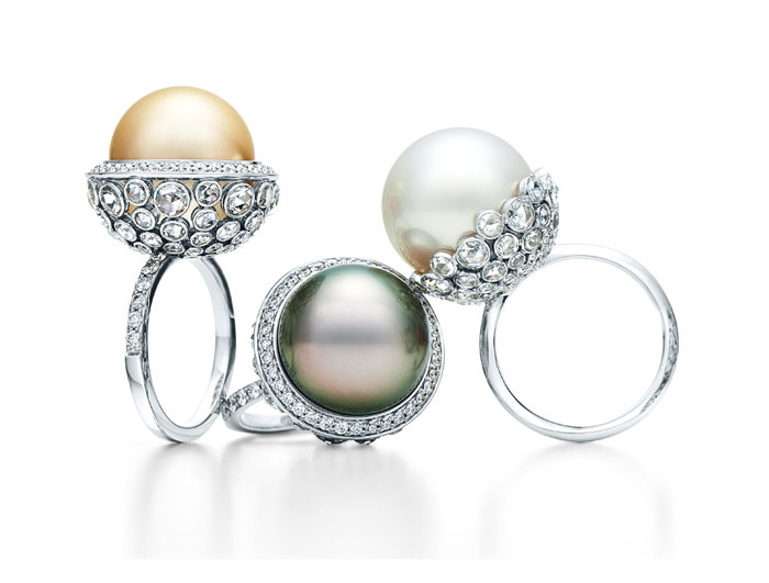 Rings with South Sea white, golden and Tahitian cultured pearls with rose-cut diamonds