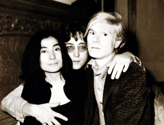 A defining trio: Yoko Ono, John Lennon and Andy Warhol, June 5, 1971. Photograph by art critic/Warhol biographer David Bourdon, David Bourdon papers.