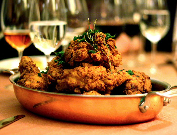 Fried chicken and champagne happy hour at L'Olivier