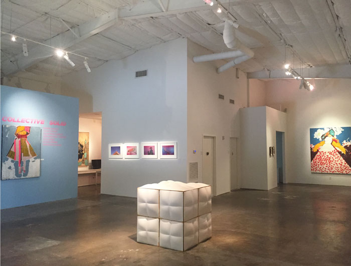 """Collective Solid"" at Deborah Colton Gallery signifies assistant director Theresa Escobedo's first major curatorial effort for the gallery. Foreground: Dylan Conner's ""White Cube,"" 2015."