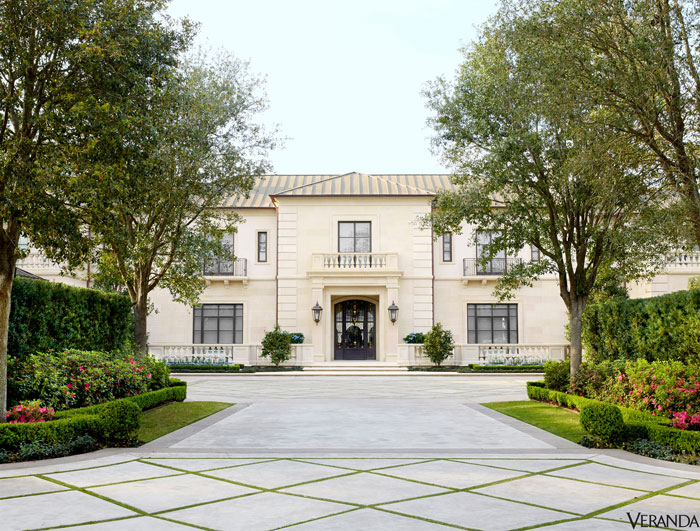 The limeston-clad, copper-roofed estate in River Oaks, with interiors designed by J, Randall Powers, architecture Drew S. Wommack, landscape design Johnny Steele.