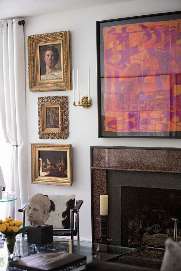 Eighteenth-century oil paintings ranging from portraiture to Orientalist paintings and interiorscapes. Painting above the fireplace is by Houston artist Michael Tracy.