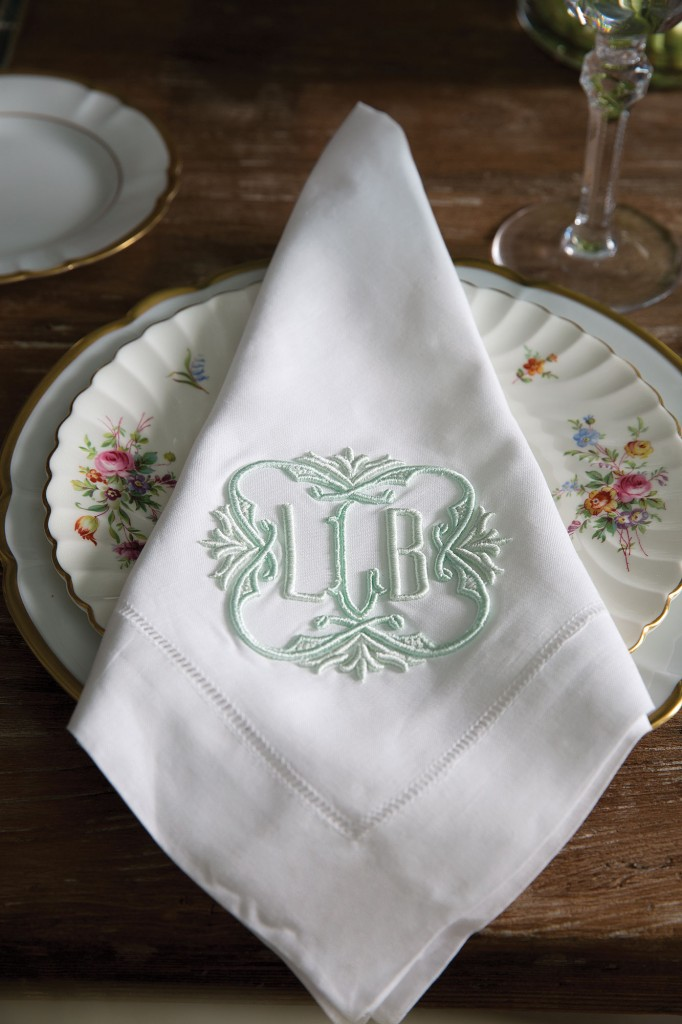 Looke made grandmother's china her own by pairing it with monogrammed dinner napkins by Madison, a gift from her brother-in-law's fiancée.