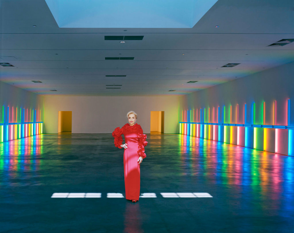 Lynn Wyatt in couture at the Dan Flavin exhibition at the Menil Collection. Photograph by Robert Polidori, courtesty of the artist and Paul Kasmin Gallery.