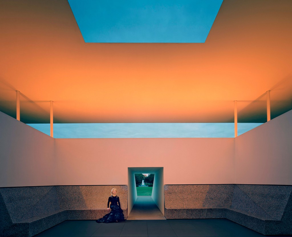 Lynn Wyatt in couture at the James Turrell Skyspace at Rice University. Photograph by Robert Polidori, courtesty of the artist and Paul Kasmin Gallery.