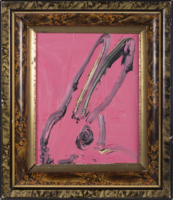 "Hunt Slonem's ""Nancy,"" 2013, testifies to the painter's connection with the family of rabbits. See more lapins in ""The Worlds of Hunt Slonem,"" through April 30, at Gremillion & Co. Fine Art, Houston. This creature can be yours for $4,500."