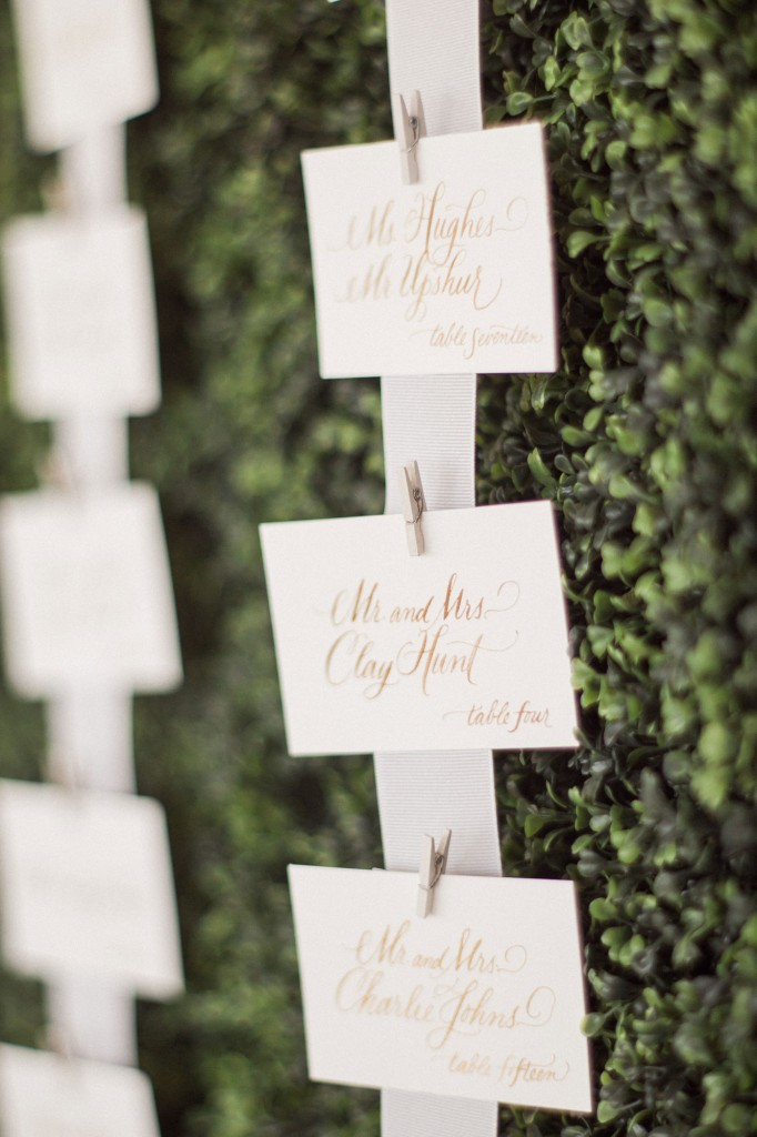 Elegant calligraphy by Lolo Lincoln and a simple hedge-wall made for the perfect place-card design.