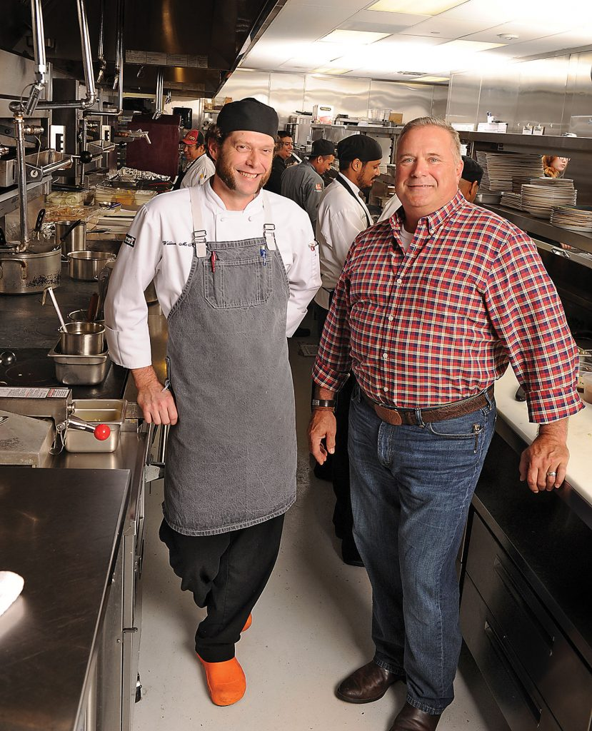 Executive chef Bill McKinney and Chef/Partner Jim Mills in the State Fare kitchen