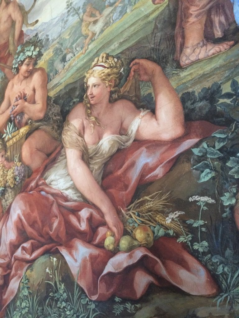 Detail of 'Four Ages of the World', wall frescoes by Pietro da Cortona in the Salla della Stufa.