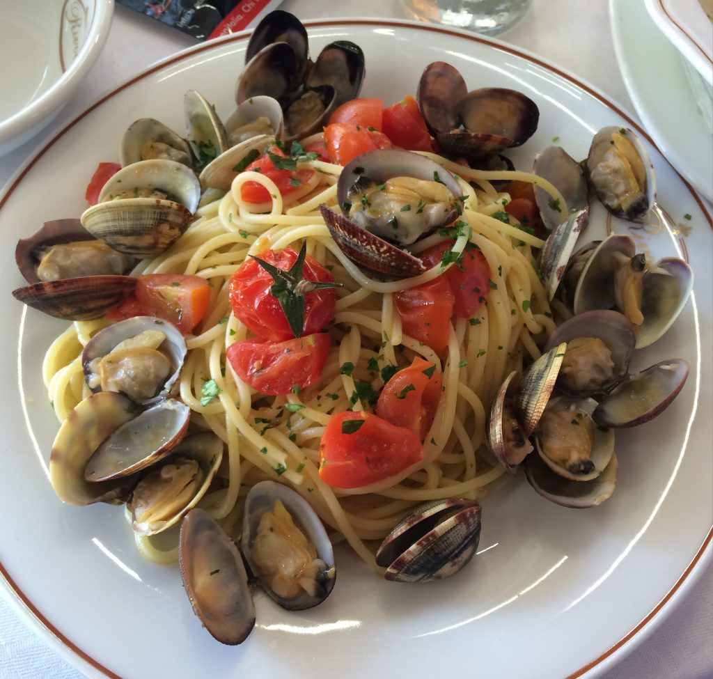 A heavenly plate of Vongole, our last Italian repast before flying back to Houston.