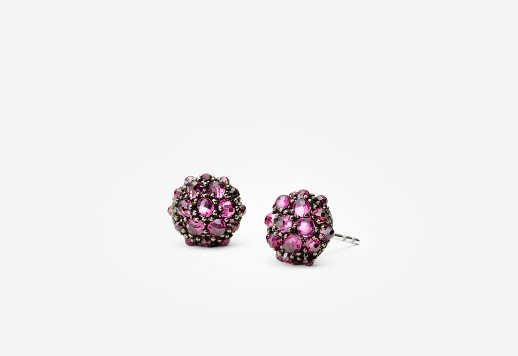 Osetra stud earrings with rhodalite garnet in silver $900, at Neiman Marcus