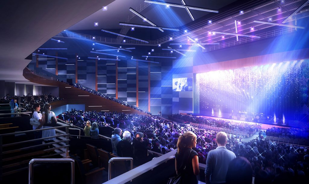 Artist rendering of the suite view of the stage at Smart Financial Centre.