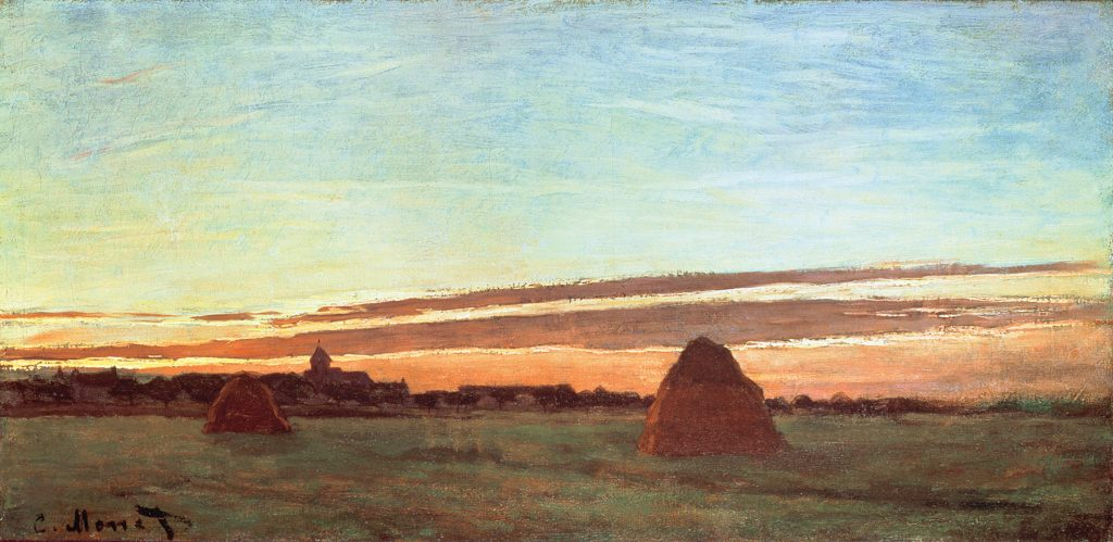 SD69315 Haystacks at Chailly, 1865 by Monet, Claude (1840-1926); 30x60 cm; San Diego Museum of Art, USA; French,  out of copyright