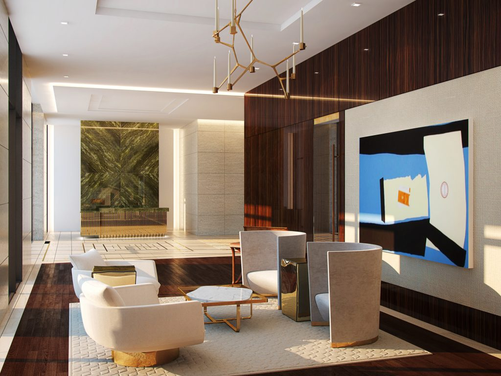 The lobby of The River Oaks beckons buyers with its melding of design and important art. Owner/developer Arel Capital is making a commitment to form a contemporary collection.