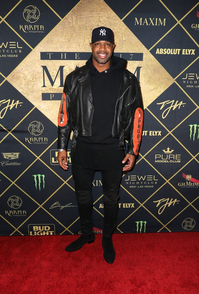 HOUSTON, TX - FEBRUARY 04: NFL player Marcedes Lewis arrives at the Maxim Super Bowl Party on February 4, 2017 in Houston, Texas.  (Photo by John Parra/Getty Images for Maxim)