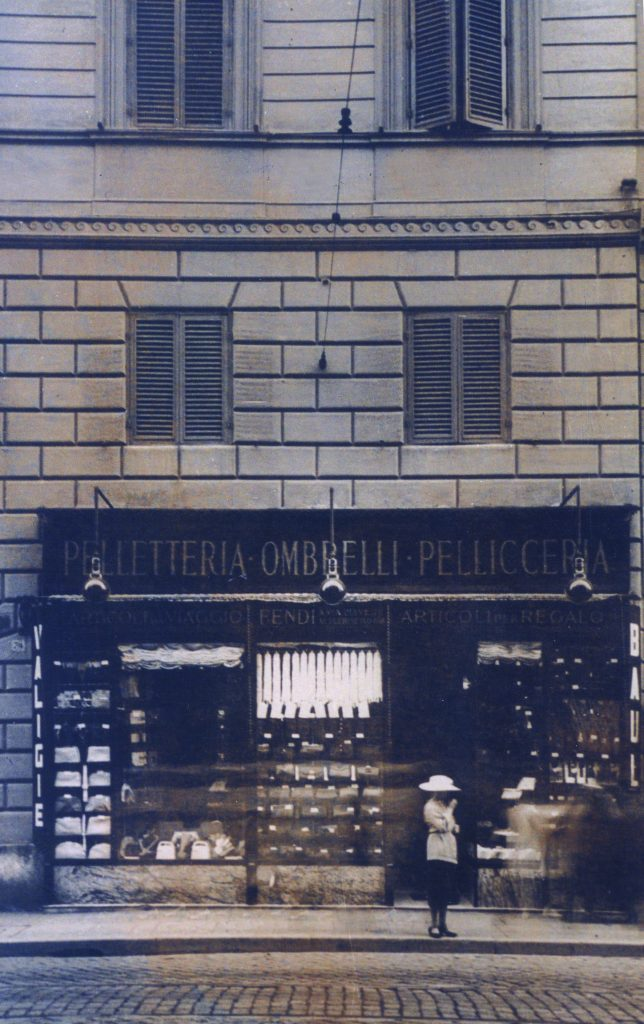 The first Fendi store, then a handbag-and-fur shop on Rome's Via del Plebiscito, 1926