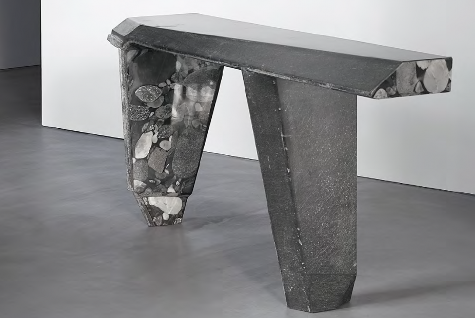 A table by Vincenzo de Cotiis. Top is made of black recycled fiberclass, marble, and antiqued silvered brass. Base is made of black recycled fiberglass and two kinds of marble.