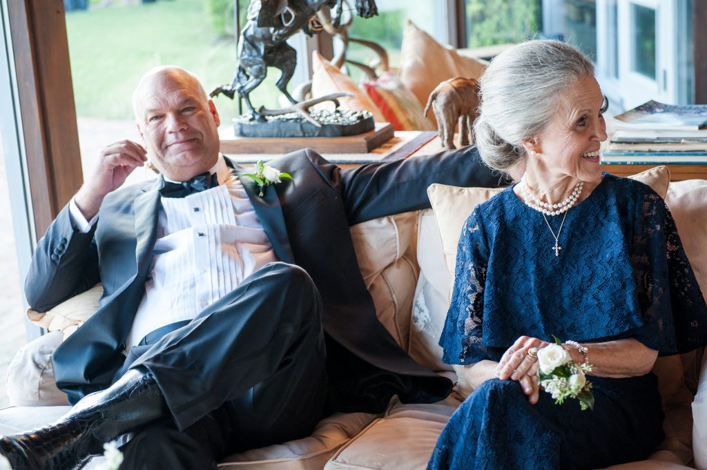 Relaxing at the ranch: the bride's dad, Mike Rutherford Jr. with his mother, Sally Rutherford, the bride's paternal grandmother.