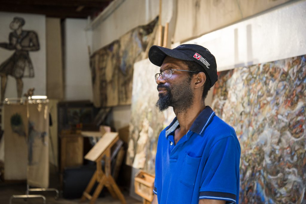 Self-taught artist Wayne Hall, who lives in a nearby town, was a discovery of David Searcy. Hall's assemblages were exhibited both at 100 West and Searcy and Rebal's project space.