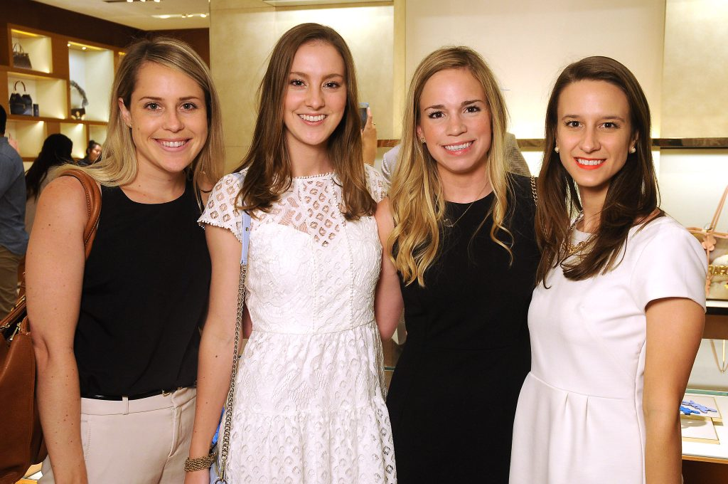 From left: Ali Christensen, Colleen Wagner, Jenn Montalvo and Stefani Orscheln at the release party for the Tambour Horizon watch at the Louis Vuitton store in the Galleria Tuesday July 11, 2017. (Dave Rossman Photo)