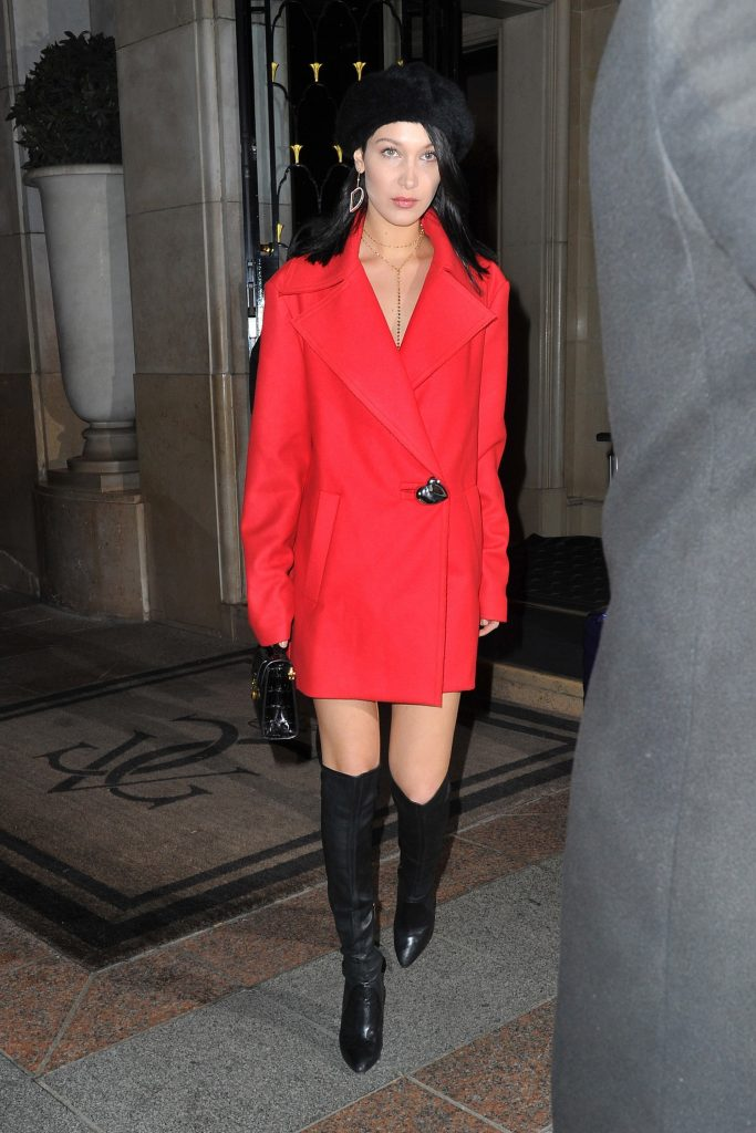 Bella Hadid steps out in red.