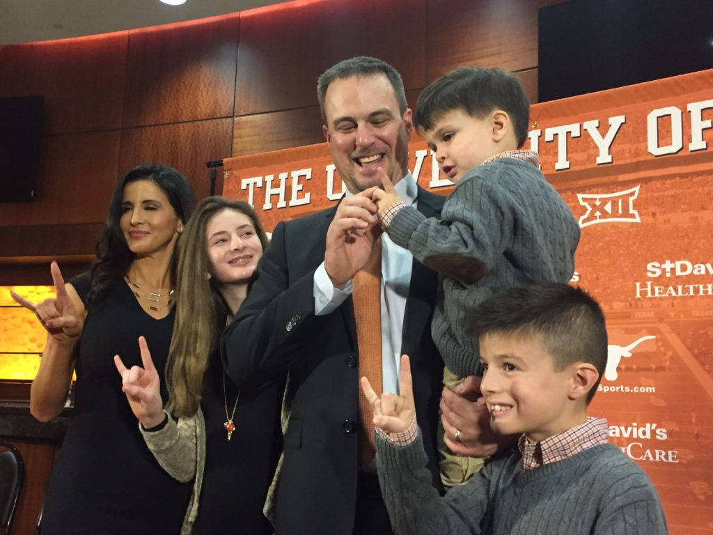 First year Texas coach Tom Herman and his wife have a growing family. And they're making themselves at home in Austin.