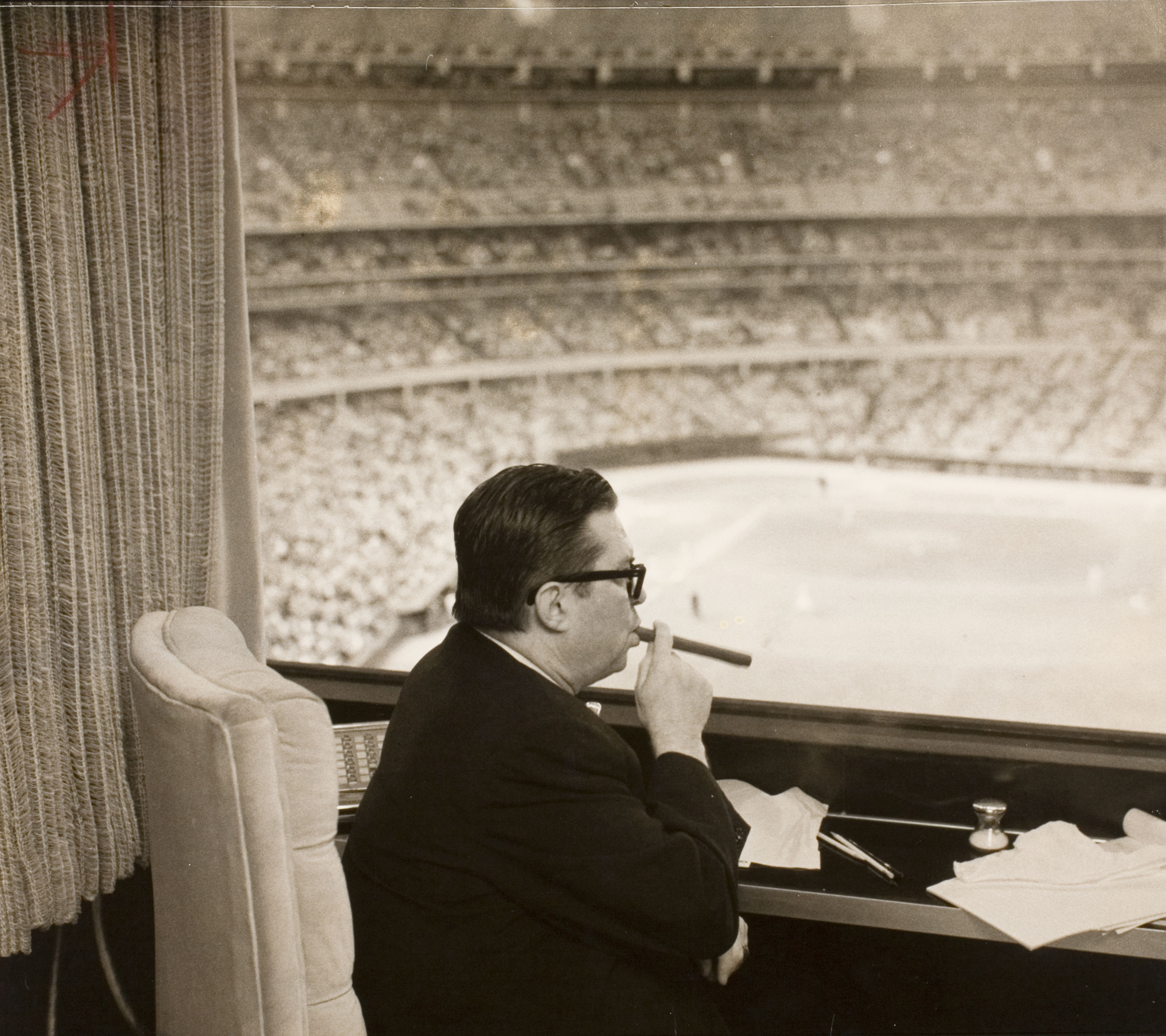 Inside roy hofheinzs lavish private penthouse suite astrodome judge roy hofheinz contemplates his astrodome empire photo dan hardy for the houston post june 13 1965 houston metropolitan research center malvernweather Images
